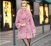Women's Rex Rabbit Fur Coat With Fox Fur Collar With Rose Flowers 2014 New Stylish Fashion Slim Jacket Winter White Fur Clothing
