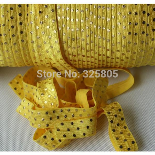 """free shipping 5/8"""" 16mm 50yards gold dots fold over elastic custom printed elastic ribbon yellow headbands(China (Mainland))"""