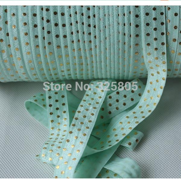 """free shipping 5/8"""" 16mm 50yards gold dots fold over elastic custom printed elastic ribbon pastel green headbands(China (Mainland))"""