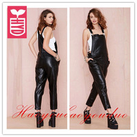 Drop ship 2014 new brand Black PU leather rompers Womens sexy straps(adjustable) Jumpsuits pocket clothing