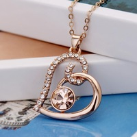 18K Rose Gold Plated Crystals Heart Pendant Necklace Wedding Love Valentine Gift