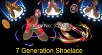 2014 New Arrival 7thGen LED Flashing Glowing Webbing Shoelaces Shoestring Light Up Fiber Optic LED Shoe Laces Opp Bag