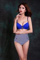2014 New Striped Swimsuit Swimwear Vintage Push Up  High Waisted Bikini Set with Diamond Anchor Decoration Plus Size