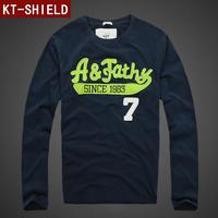 2014 Autumn Winter Fashion New Men's Long Sleeve T-shirt 100% Cotton Good Quality Casual Slim Tshirt For Men Brand Design KTL