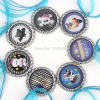 50pcs/lot 2014 New Arrival 46cm Happy Halloween Bottle Caps Necklace Colorful Ribbon Cartoon Pendants Necklace for Girls