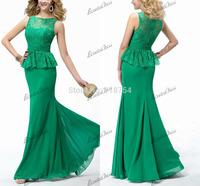 Mermaid Long Evening Dresses O-neck Lime Green Chiffon Lace Floor Length 2014 New Arrival Formal Dresses Vestidos De Festa