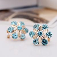 Flower Crystal  Ear Cuff Earring With Ear Hook New Brand Fashion For Women 1.9x1.9cm
