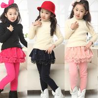 New Arrival 2014 Kids Girls Tutu Veil Legging Baby Lace Skirts Plus velvet pants Children Lovely Outwear Warm Pants