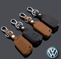 car accessories leather car key chain key case VOLKSWAGEN TIGUAN GOLF POLO PASSAT TOUAREG 3keys flip key cover