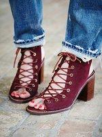 14 women's shoes cowhide cutout thick heel sandals