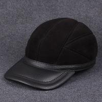 Leather hat man high-grade fur in the elderly sheepskin baseball hat