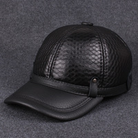 Leather sheepskin hat  winter leisure fashion baseball cap outdoor warm Korean peaked cap