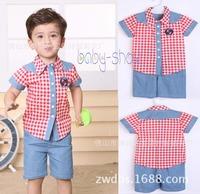 2014 new summer  children's clothing piece suit  boy plaid shirt Korean boy suit