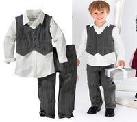 Autumn 2014 Children's Clothing Suit Handsome Boy Shirt Vest Pants Three-piece Suit K6361