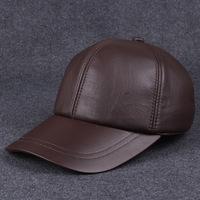 winter men's hats calfskin leather baseball cap outdoor leisure truck cap