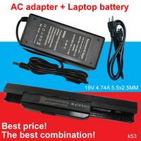 1pcs laptop AC Adapter Charger + 1pcs laptop battery for asus A43 A53 A54 A83 K43 K53 P43 P53 X43 X44 X53 X54 X84