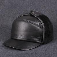 The elderly man sheepskin leather baseball cap in autumn & winter leisure earmuffs