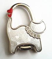 1pcs fashion cute silver cat shape lady table crown foldable purse bag handbag hanger hook 2014 free shipping
