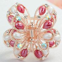 Crystal Rhinestone Applique Silver Settings romantic vintage colorful bright flower crystal hair claw
