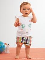 2014 New Baby Boys Clothing Set  O-Neck Short Sleeve T-Shirt + Plaid Pants 2Pcs Suits Children Clothes Dropshipping K4126