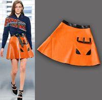 New 2014 autumn winter women girls runway catwalk brand fashion orange black PU leather color block mini skirt pocket skirts