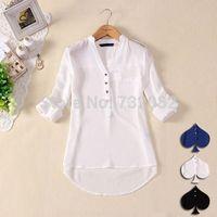 Women's V neck Chiffon Shirt Blouse Top Shirt Open Top E5278