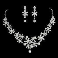 Flower wedding jewellery rhinestone the bride necklace piece set wedding accessories hair accessory earrings