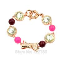 Pulseiras Femininas Cute Rose Gold Color Alloy Blue Clear Color Rhinestone Bow Decoration Bracelet for Women