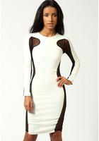 2015 Hottest Selling Sheath Dress Fashionable Sexy Evening Bandage Dress Long-sleeved Autumn Outwear Black And White RY0392