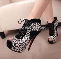 Women Pumps Lace-up Zipper Ankle Boots for Woman Vintage Sexy Platform 14cm High Heels Shoes