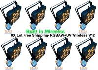 8X LOT Rasha 12pcs*18W 6in1 RGBAW+UV Wireless DMX LED Flat Par Can,UV Color LED Slim Par Light For Stage Party Event Productions