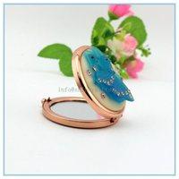 High quality Metal flower desktop double faced resin mirror /makeup mirror /vanity folding mirror