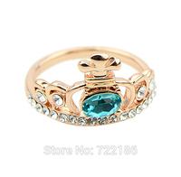Aneis Femininos  Blue Rhienstone Gold Color Alloy Wedding Finger Rings For Women