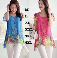 M-xxxl Sale Plus Size Summer Vintage Short-sleeved O-neck Women Tops Blusas 2014 New Women's Loose Print Chiffon Shirt Blouses