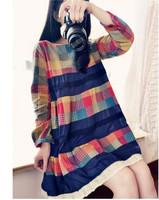 2015 dresses women plus size loose long-sleeved cotton winter dress plaid cotton stitching vestidos femininos