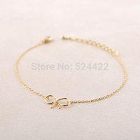 Min 1pc Gold and silver Dainty Bow Bracelet ,brass bracelet SL001