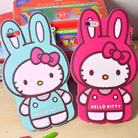 """3D Hello Kitty Rabbit with Ears Silicone phone Cover Case For iPhone 6 4.7""""/ Plus 5.5"""""""
