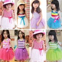 Children's Clothing Summer Girls Colored Striped Vest Dress Princess Tutu 10 Colors Vest tutu Dress 5pcs/lot Free Shipping