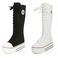2014 hot sale fashion women Canvas Boots Knee High Sneakers lady motorcycle boots,size 35-43 White/Black/red 5A105
