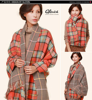 Winter 2014 Brand Cashmere Plaid women Scarf  Basic Shawls Women's Scarves Big Size 200 *80 CM double colors Christmas Gifts