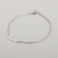 Free shipping 10pcs/lot LOVE Bracelet in Gold and silver,tiny bracelet SL004