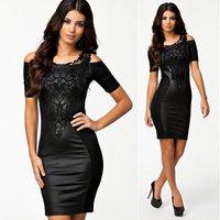 Vintage women's summer sexy black lace faux leather splice bodycon sheath dress DR-12793