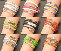 Hot Sale Wholesale Fashion Vintage Anchors Rudder Rectangle Leather Bracelet Multilayer Bracelets For Women Gift WRBR-001