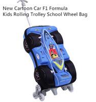New Cartoon Car F1 Formula 1 Kids Rolling Trolley School Wheel Bag Suitcase Child Backpack Luggage Travel Bag 39306