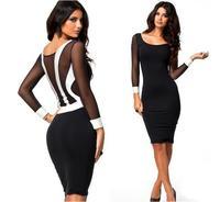 Elegant black and white women's fashion stitching gauze dress