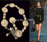 2014 Medusa belt head embossed gold rings chain metal waist women belt girdle