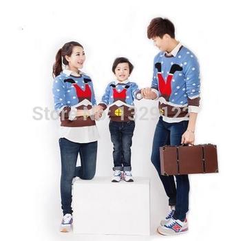 Мода семья влюбленных одежда женщины мода дед мороз с длинным рукавом свитер семья пакет вязать свитер
