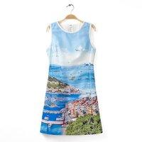New women's summer blue landscape printed sleeveless Aline skater mini dress DR-9202