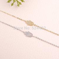 Min 1pc Gold and Silver Hamsa Bracelet,hand shape bracelet SL008