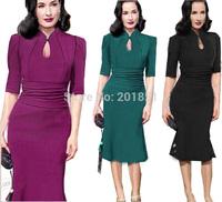 Free Shipping Hot Selling 2014 New Vintage Fashion Summer Women Elegant Celebrity Bandage Bodycon Sexy Pencil Evening Dresses